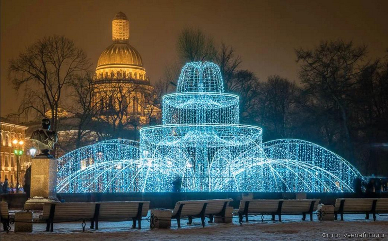 Зимний  фонтан у Адмиралтейства  фото